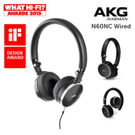 AKG N60NC Noise Cancelling Wired, Compact On-Ear Headphones & Carry Case - Black