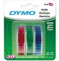DYMO Genuine Embossing Labels. 3 Colour Multi-Pack (Blue, Red, Green). 9mm x 3m