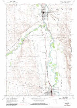 7.5' Topo Map of the Greybull South, WY Quadrangle Topo Map Of Guernsey on
