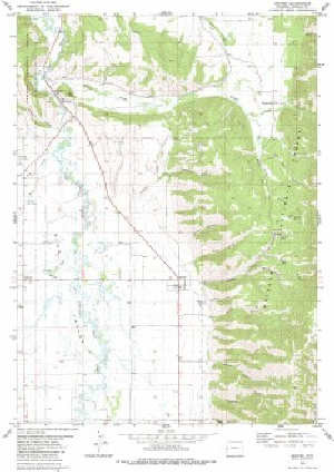 7.5' Topo Map of the Grover, WY Quadrangle Topo Map Of Guernsey on
