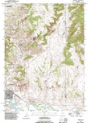 7.5' Topo Map of the Guernsey, WY Quadrangle Topo Map Of Guernsey on