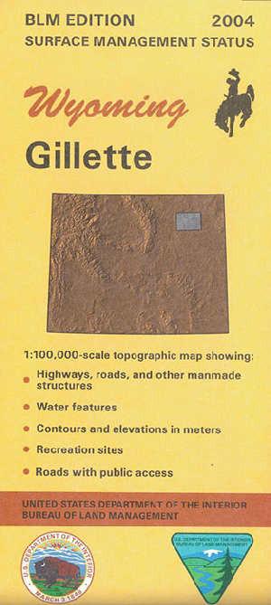 Blm 30 X 60 Surface Management Map Of Gillette Wy Quadrangle