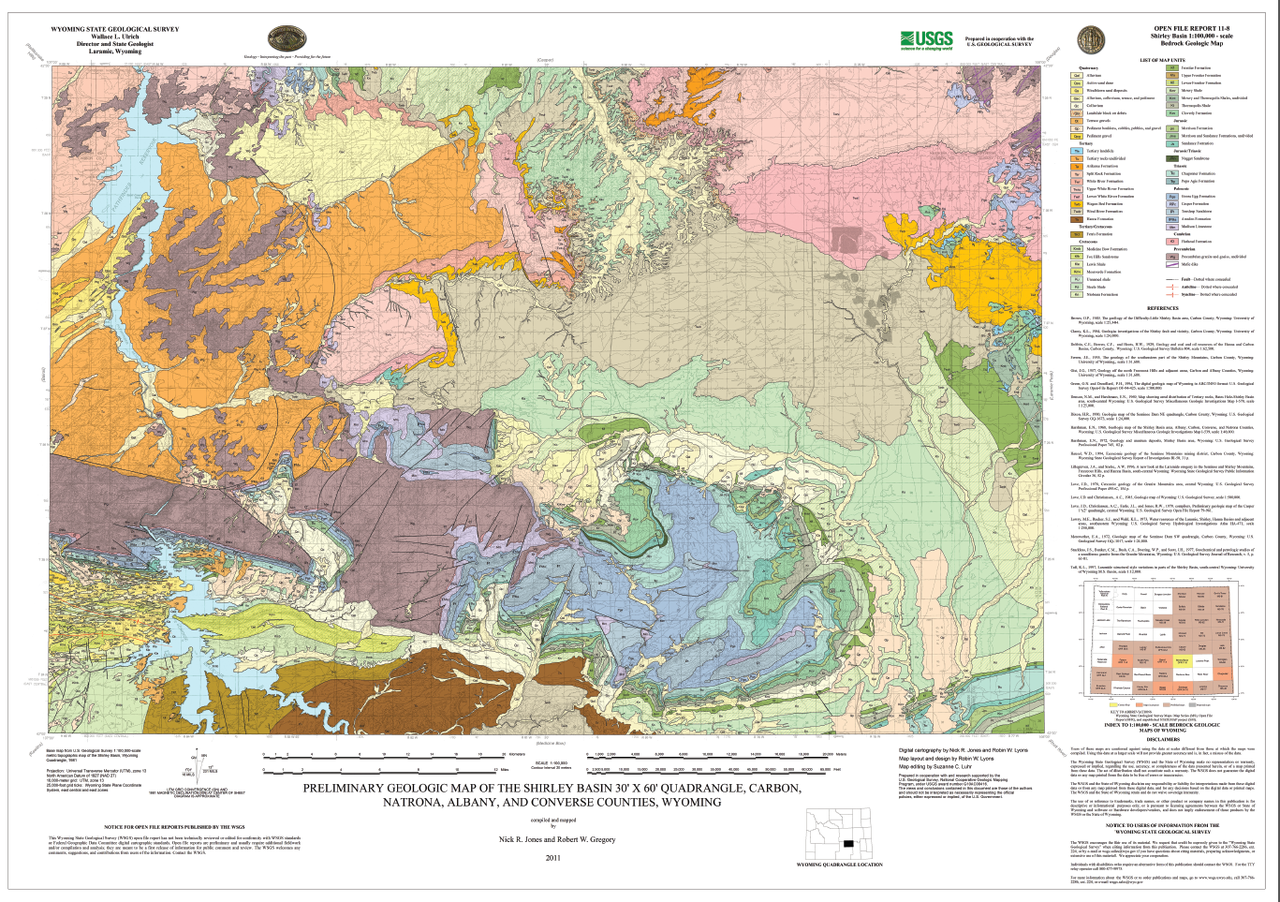Preliminary Geologic Map Of The Shirley Basin 30 X 60 Quadrangle