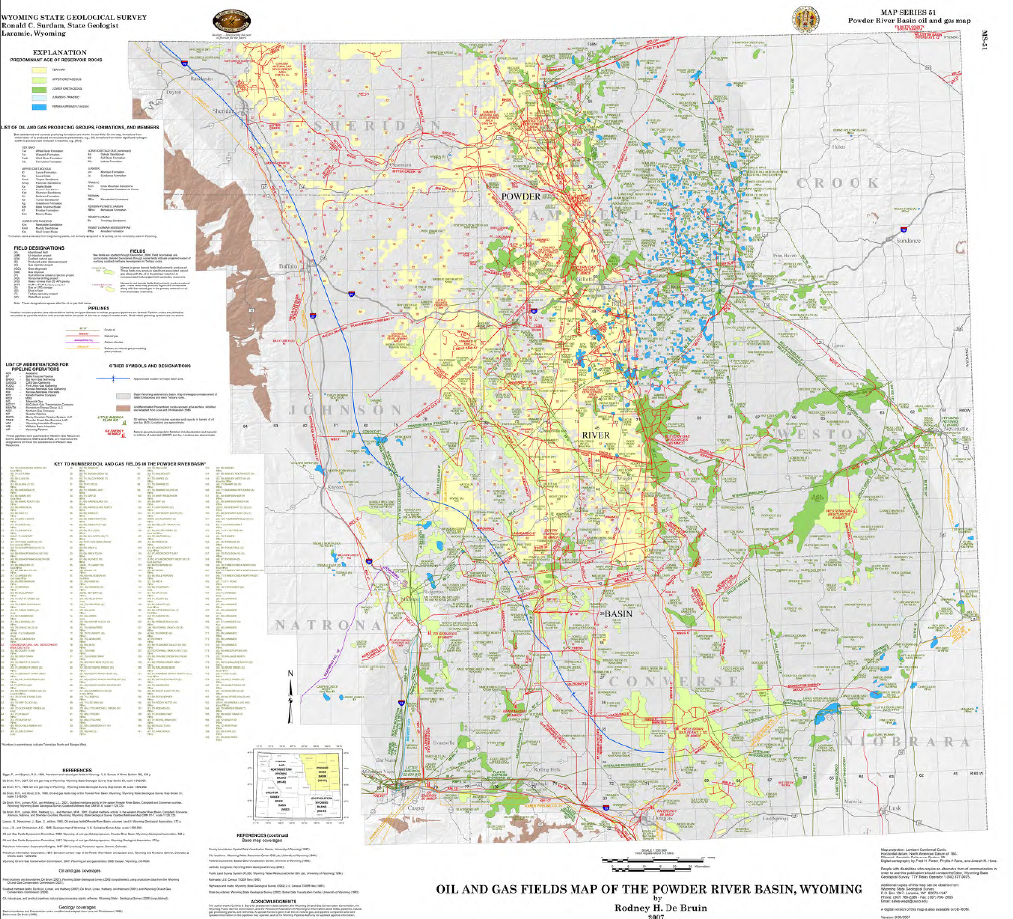 Powder River Wyoming Map.Oil And Gas Map Of The Powder River Basin Wyoming 2007 Wsgs