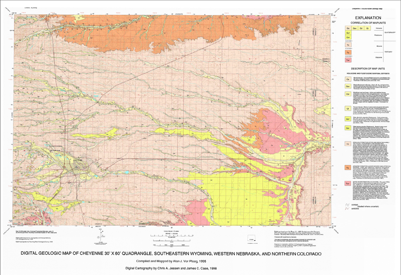 Geologic Map of the Cheyenne 30\' x 60\' Quadrangle, Southeastern Wyoming,  Western Nebraska, and Northern Colorado (1998)