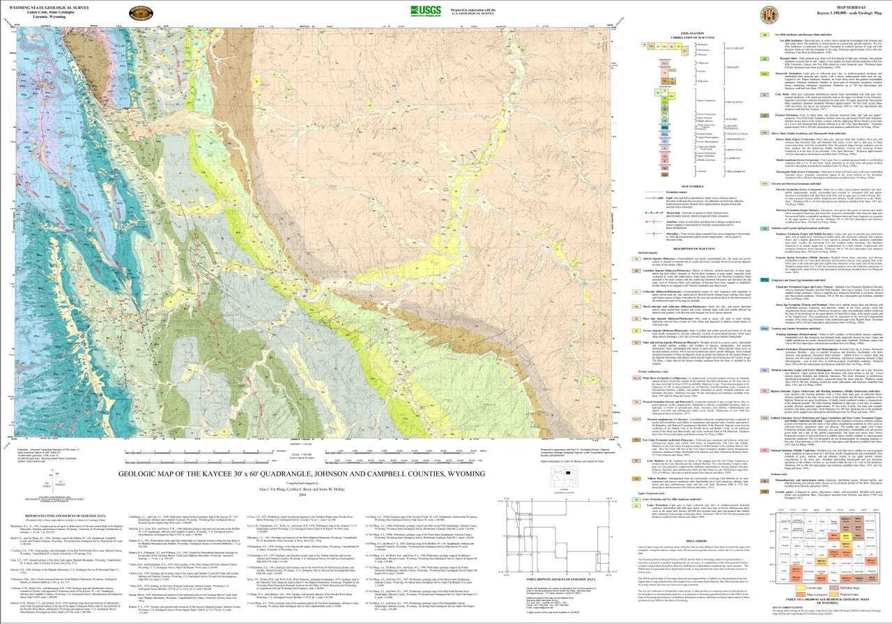 Geologic Map of the Kaycee 30' x 60' Quadrangle, Johnson and Campbell on rock springs wyoming on us map, laramie wyoming on us map, cheyenne wyoming on us map, green river wyoming on us map,
