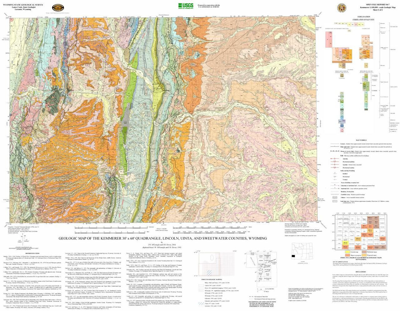 Kemmerer Wyoming Map.Geologic Map Of The Kemmerer 30 X 60 Quadrangle Lincoln Uinta