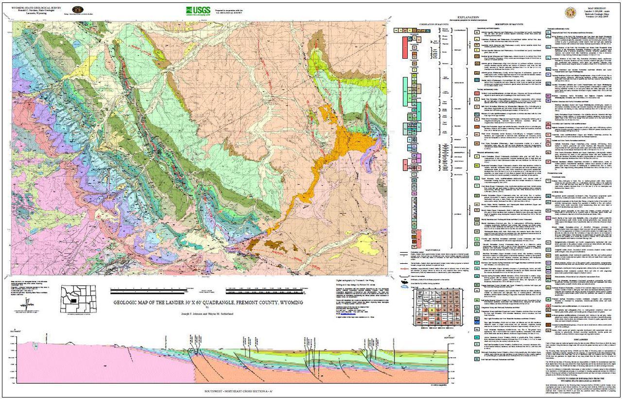 Geologic Map Of The Lander 30 X 60 Quadrangle Fremont County