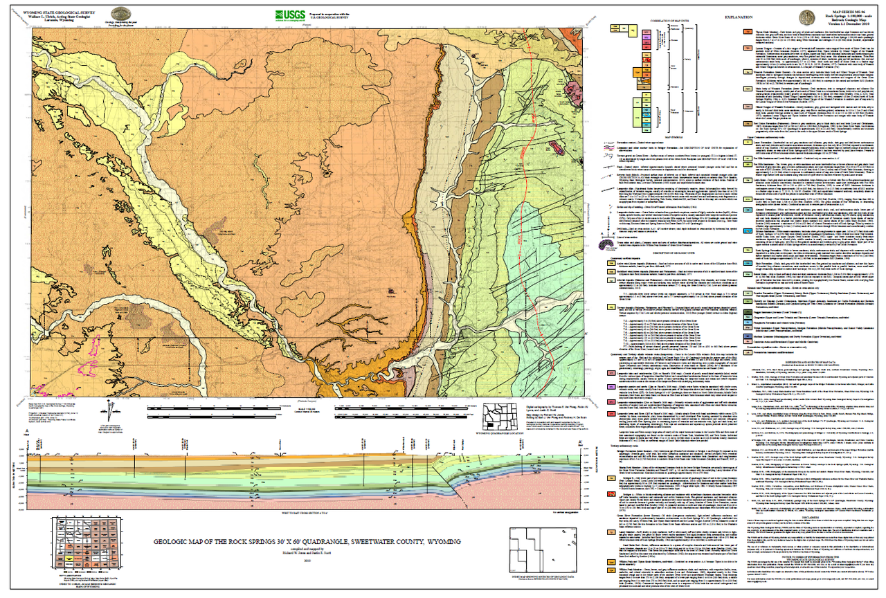 Rock Springs Wyoming Map.Geologic Map Of The Rock Springs 30 X 60 Quadrangle Sweetwater