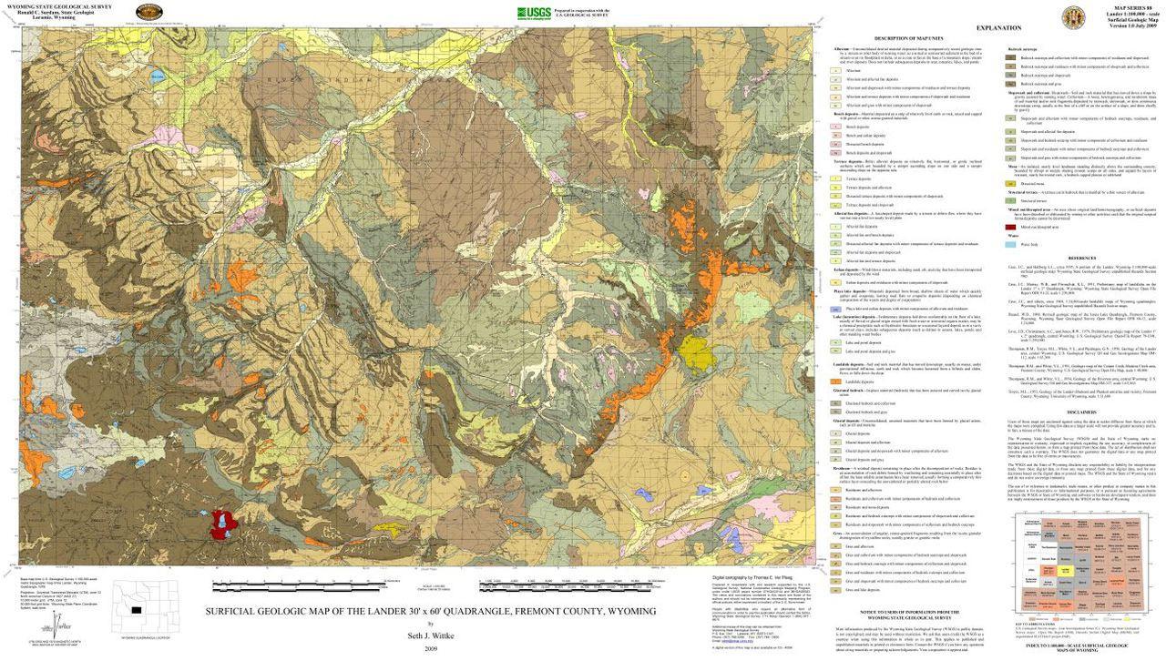 Surficial Geologic Map Of The Lander 30 X 60 Quadrangle Fremont