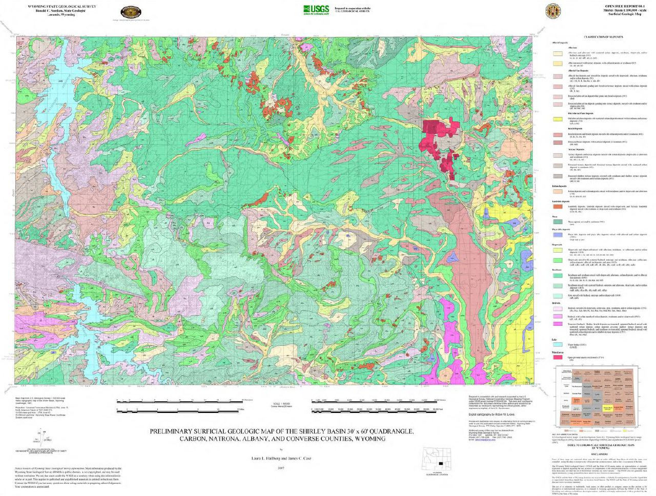 Preliminary Surficial Geologic Map Of The Shirley Basin 30 X 60
