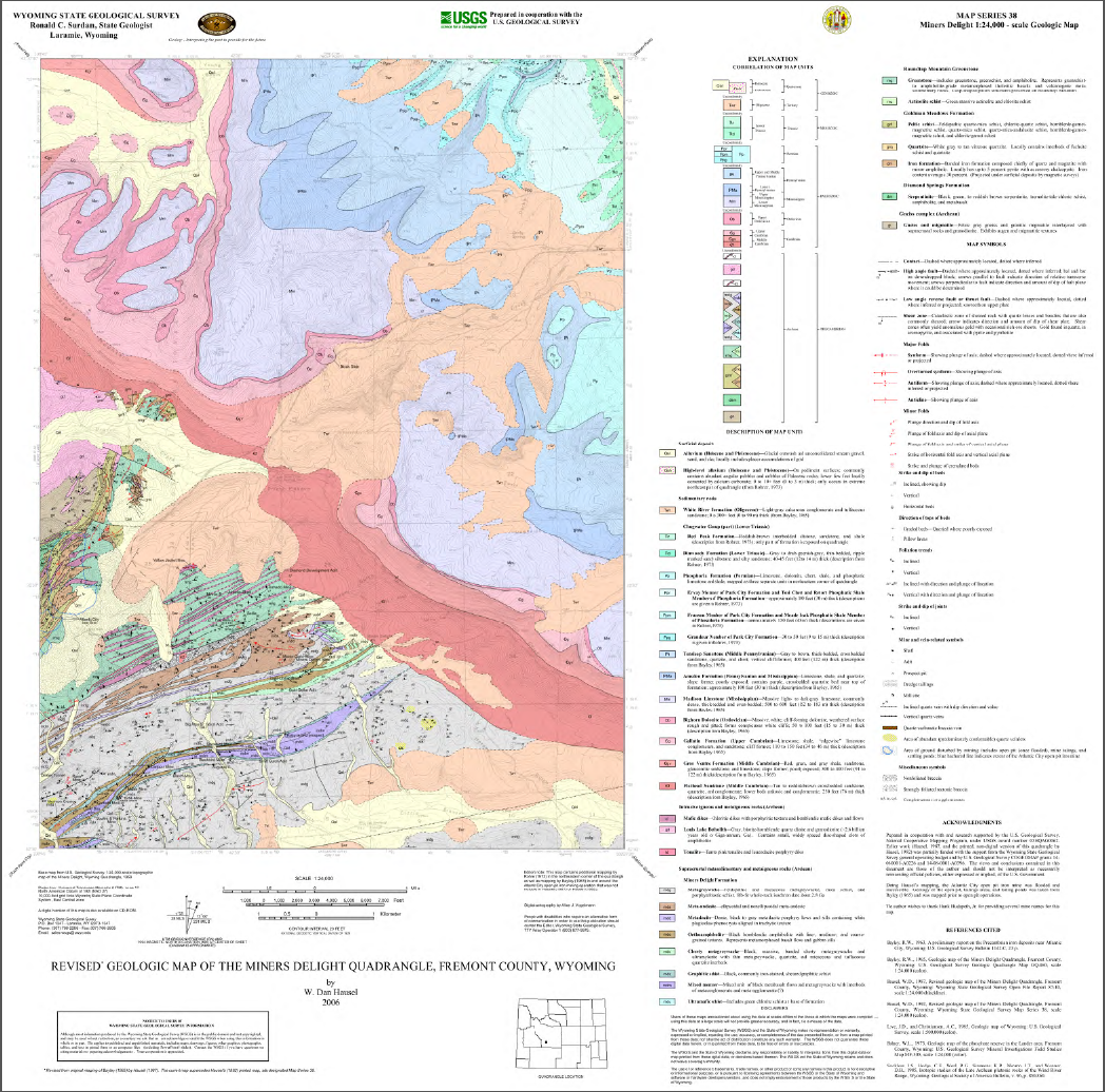 Revised Geologic Map Of The Miners Delight Quadrangle Fremont