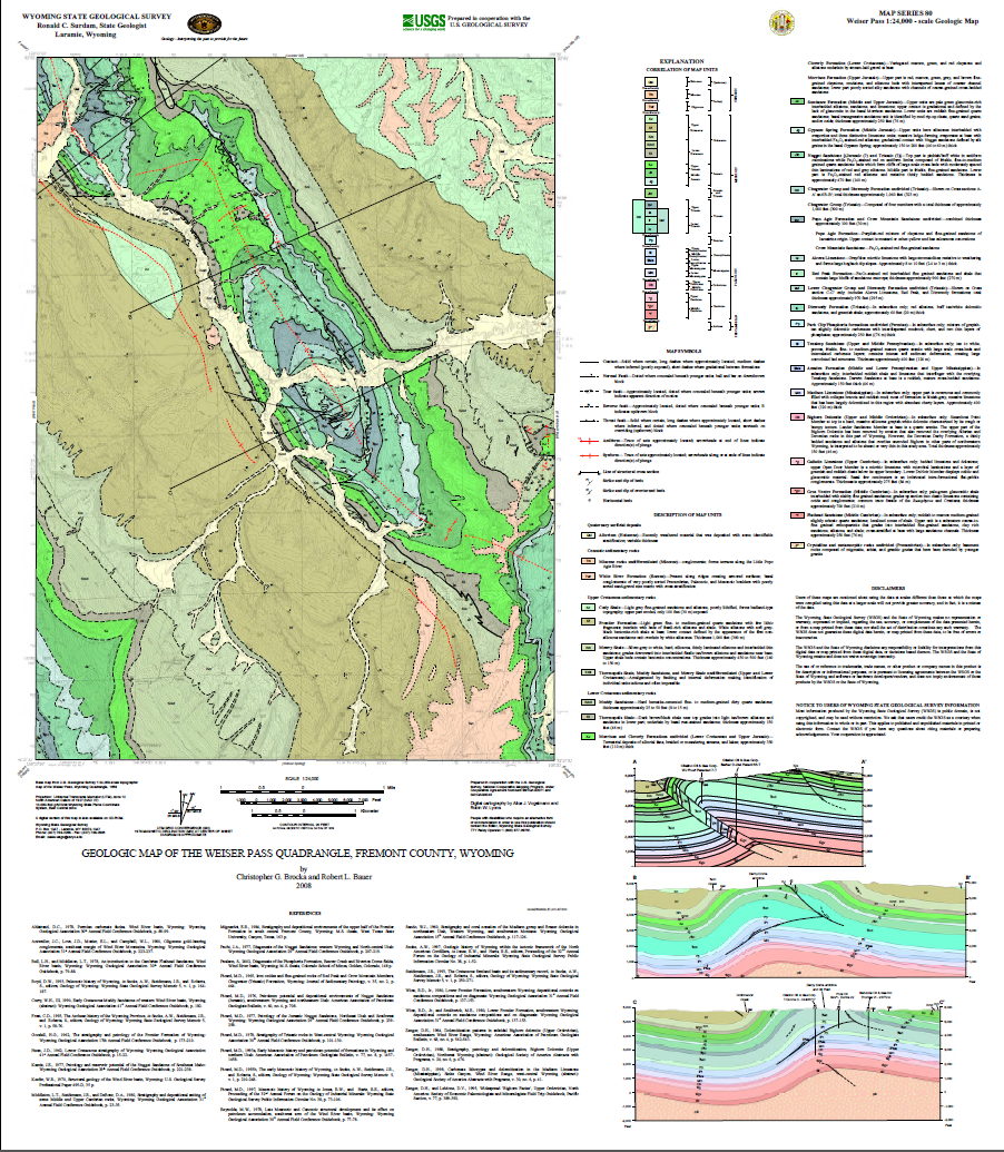 Geologic Map Of The Weiser Pass Quadrangle Fremont County Wyoming