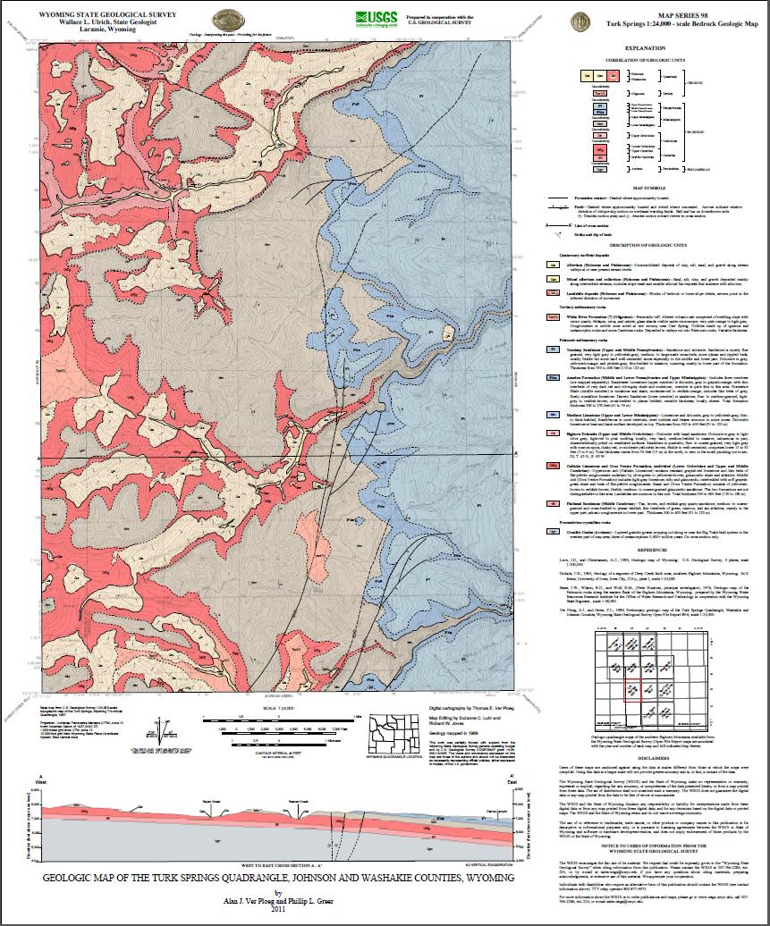 Geologic Map of the Turk Springs Quadrangle, Johnson and Washakie ...