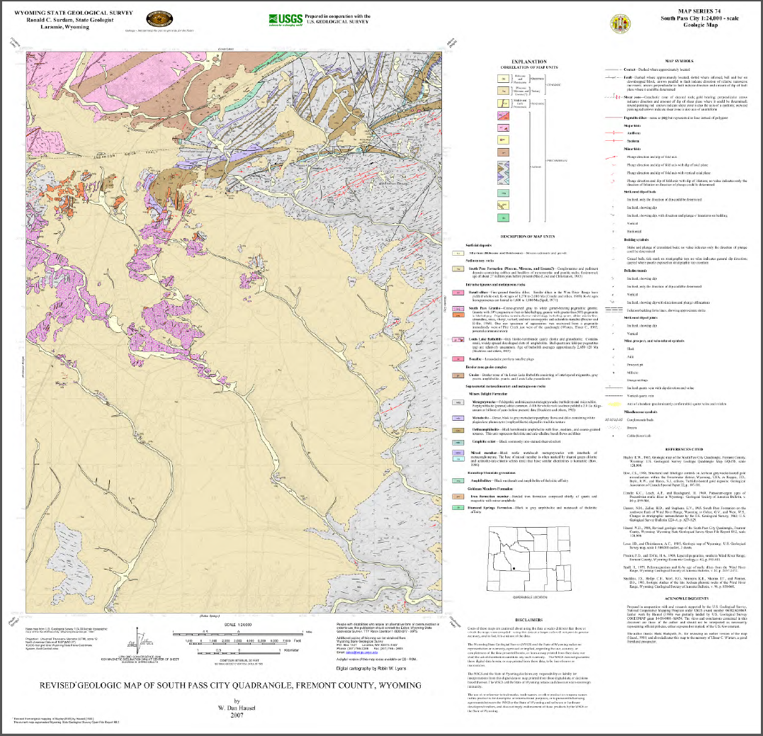 Revised Geologic Map of South Pass City Quadrangle, Fremont County, Wyoming  (2007)