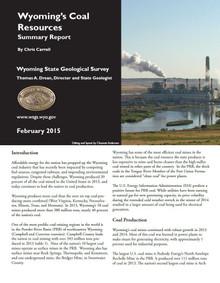Wyoming's Coal Resources: Summary Report (2015)