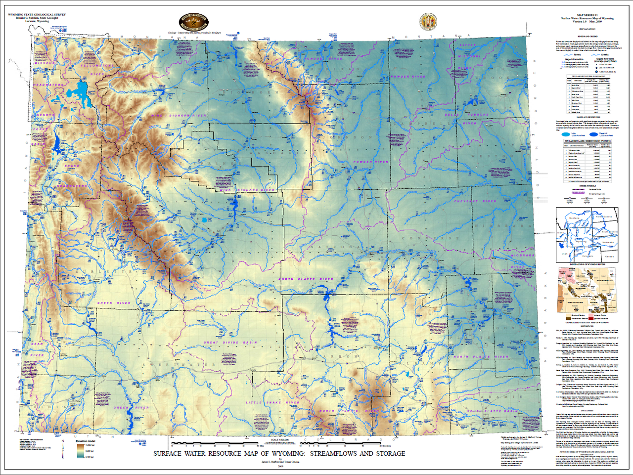 Free Wyoming State Map.Surface Water Resource Map Of Wyoming Streamflows And Storage 2009