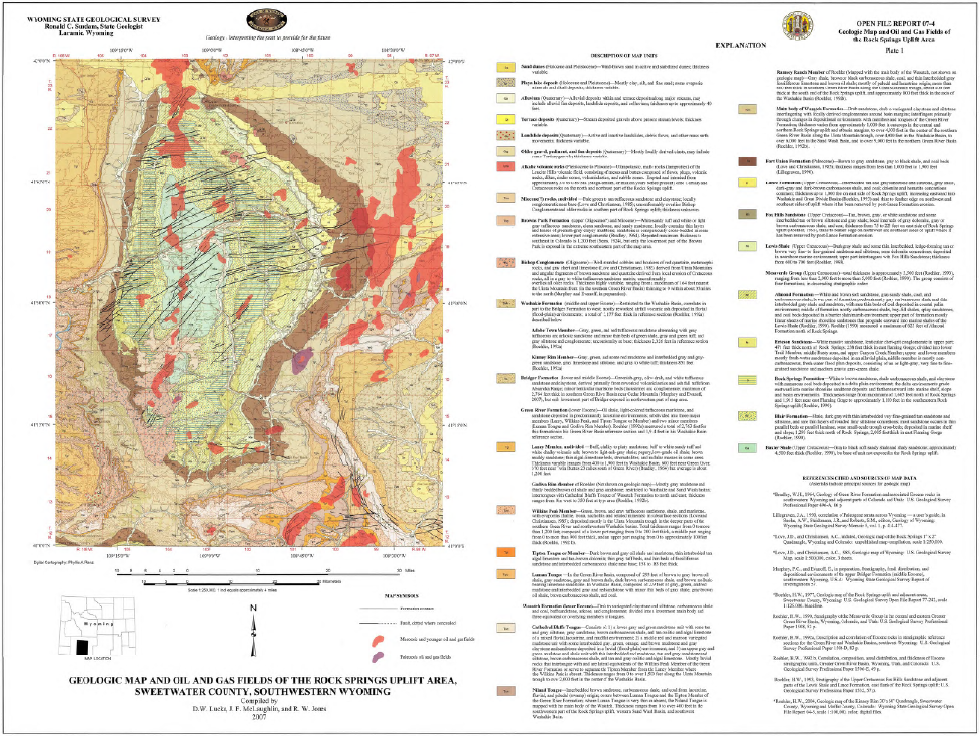 Rock Springs Wyoming Map.Geologic Map And Oil And Gas Fields Of The Rock Springs Uplift Area