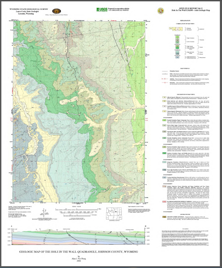 Geologic Map Of The Hole In The Wall Quadrangle Johnson County