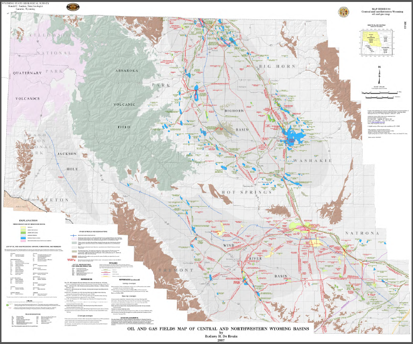 Oil and Gas Fields Map of Southeastern Wyoming Basins (2007) - WSGS Land Survey Maps Free on