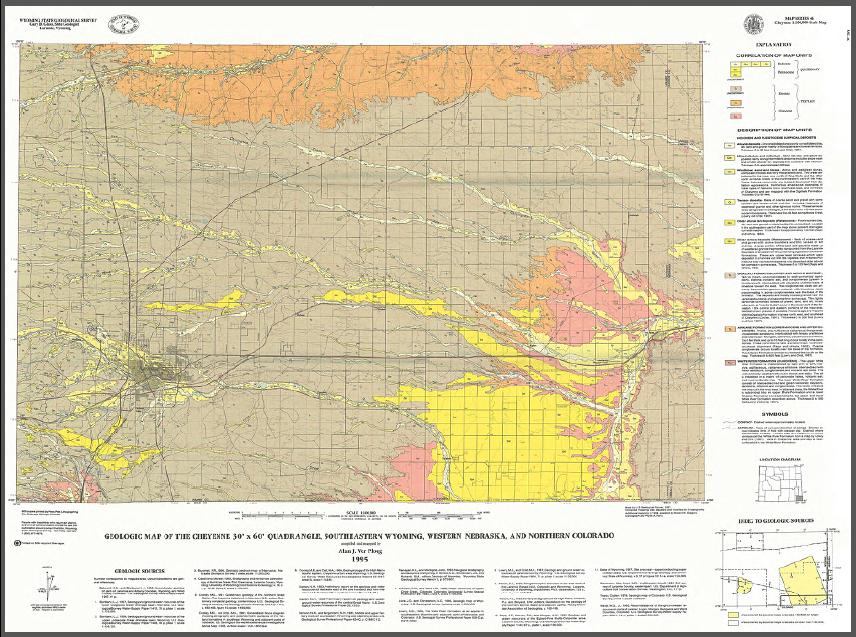Geologic Map of the Cheyenne 30\' x 60\' Quadrangle, Southeastern ...