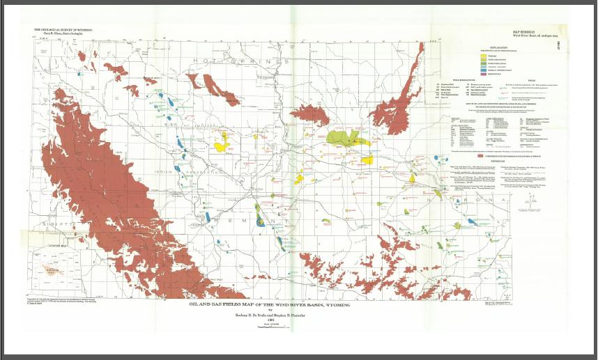 Oil And Gas Fields Map Of The Wind River Basin Wyoming 1991