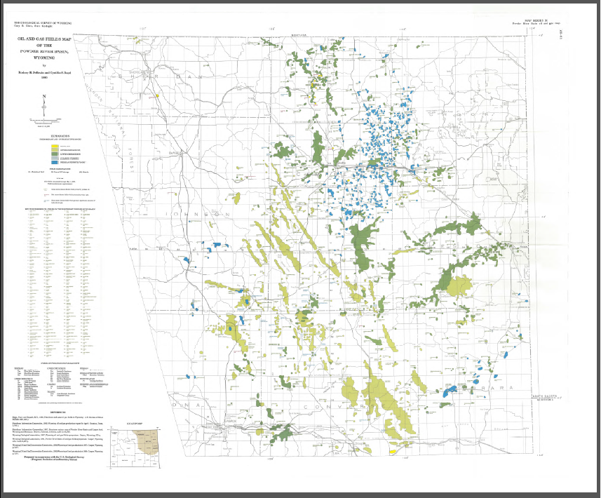 Powder River Wyoming Map.Oil And Gas Fields Map Of The Powder River Basin Wyoming 1990