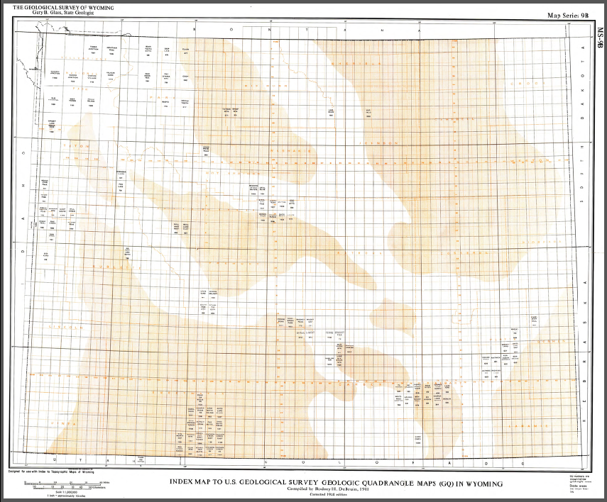 Index Map To Us Geological Survey Quadrangle Maps Gq In Wyoming - Wyoming-us-map