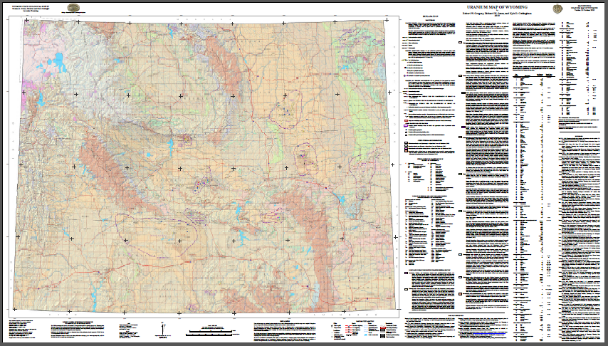 Free Wyoming State Map.Uranium Map Of Wyoming 2009 Wsgs Product Sales Free Downloads