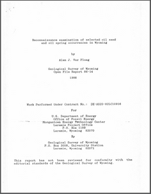 Reconnaissance Examination of Selected Oil Sand and Oil Spring Occurrences in Wyoming (1986)