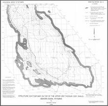 Structure Contour Map on Top of the Upper Cretaceous Cody Shale, Bighorn Basin, Wyoming (1986)