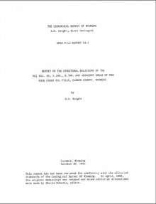 Report on the Structural Relations of the NE¼ Sec. 36, T. 20 N., R. 78 W., and Adjacent Areas of the Rock Creek Oil Field, Carbon County, Wyoming (1934)