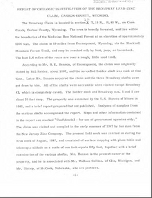 Report of Geologic Investigation of the Broadway Lead-Zinc Claim, Carbon County, Wyoming (1947)