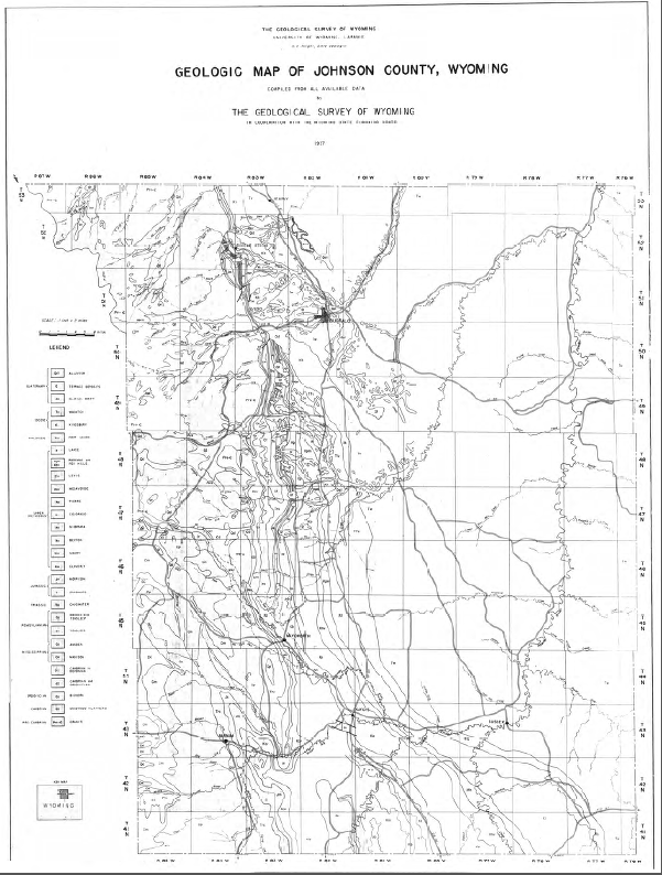 Free Wyoming State Map.Geologic Map Of Johnson County Wyoming 1937 Wsgs Product Sales