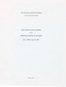 Forty-Eighth Annual Report of the Geological Survey of Wyoming (1981)