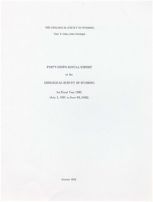 Forty-Ninth Annual Report of the Geological Survey of Wyoming (1982)