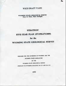 Strategic Five-Year Plan (FY1996–FY2000) for the Wyoming State Geological Survey (1995)