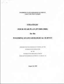 Strategic Four-Year Plan (FY2005–FY2008) for the Wyoming State Geological Survey (2003)