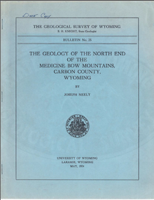 The Geology of the North End of the Medicine Bow Mountains, Carbon County, Wyoming (1934)