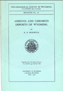 Asbestos and Chromite Deposits in Wyoming (1939)