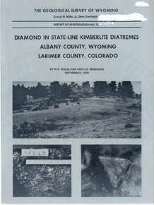 Diamond in State-Line Kimberlite Diatremes, Albany County, Wyoming, Larimer County, Colorado (1976)
