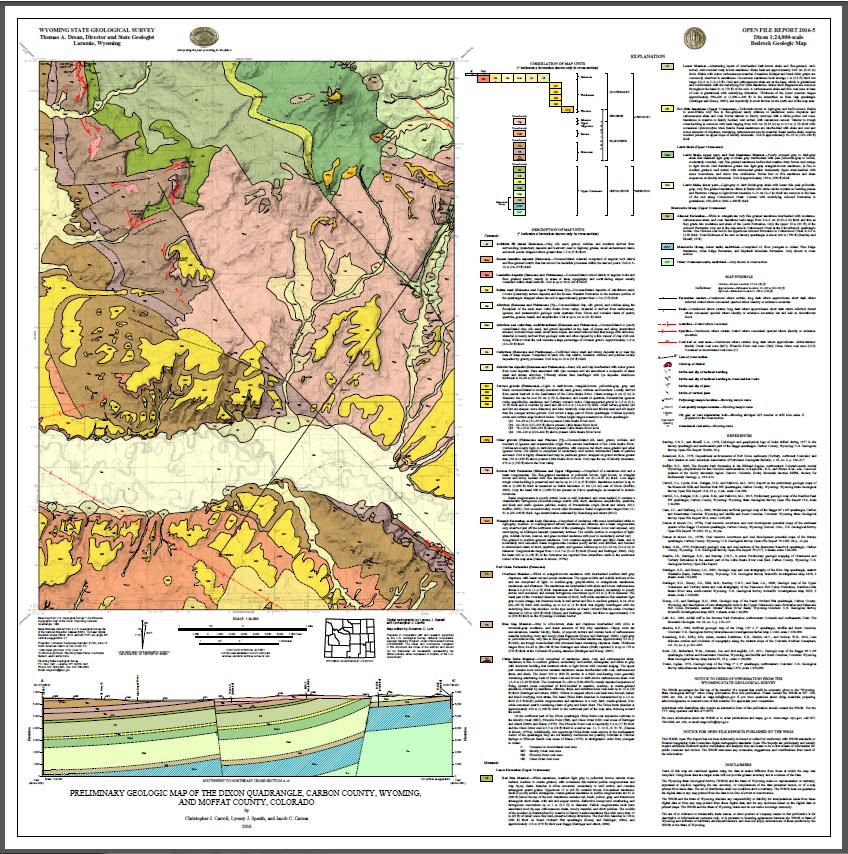 Preliminary Geologic Map of the Dixon Quadrangle, Carbon County, Wyoming,  and Moffat County, Colorado (2016)