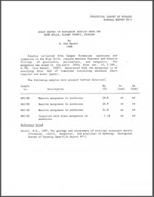 Assay Report on Manganese Samples from the Mine Hills, Albany County, Wyoming (1988)