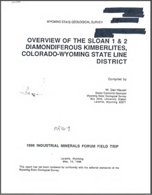 Overview of the Sloan 1 & 2 Diamondiferous Kimberlites, Colorado-Wyoming State Line District (1996)