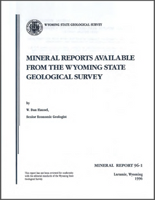 Mineral Reports Available from the Wyoming State Geological Survey (1996)