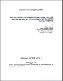 Zinc-Lead-Copper-Silver-Gold-Massive Sulfide Mineralization at the Broadway Mine, Sierra Madre, Wyoming (1992)