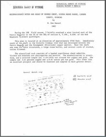 Reconnaissance Notes and Assay of Banded Chert, Sierra Madre Range, Carbon County, Wyoming (1982)
