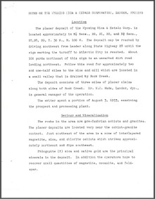 Notes on the Wyoming Mica and Metals Corporation, Lander, Wyoming (1953)