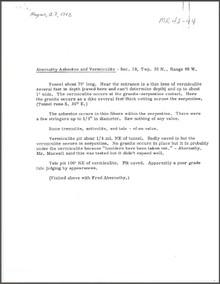 Abernathy Asbestos and Vermiculite (1942)