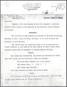 A Brief Report on the Property of Riverton Mining Company on Copper Mountain, Fremont County, Wyoming (1909)